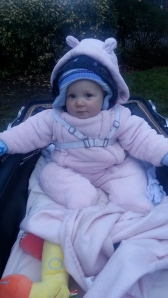 In the pram with Albert the Giraffe on the way to the swings in minus one degree temperature
