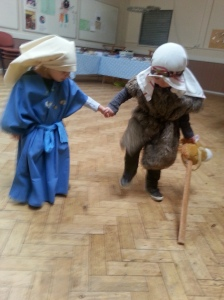 Mary and Joseph warming up